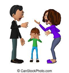 שלו, להתווכח, עצוב, הורים, ילד, שמיעה, 3d