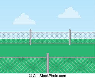 שלשל חיבור, דשא, גדר