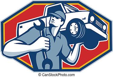 של מכוניות, מכונית, ראטרו, מכונאי, תקן