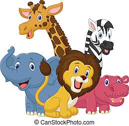 שמח, בעל חיים, סאפארי, ציור היתולי