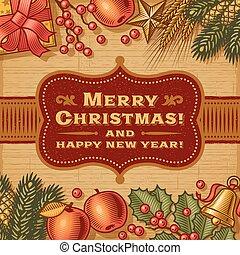 שמח, בציר, כרטיס של חג ההמולד