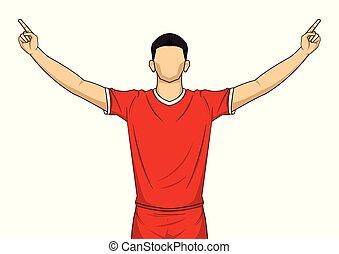 שמח, הפרד, שחקן, uniform., רקע, לבן, כדורגל, אדום, חגיגה