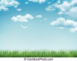 שמיים כחולים, דשא, תחום ירוק