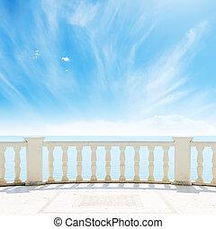 שמיים, מעונן, ים, מתחת, מרפסת, הבט