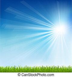 שמש, דשא, ירוק, קרן
