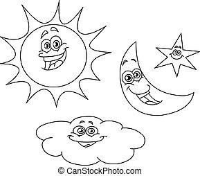 שמש, תאר, ככב, ענן, ירח