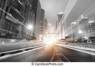 שנגהיי, לילה, ממן, מודרני, רקע, אזור, עיר, החלף, lujiazui, &