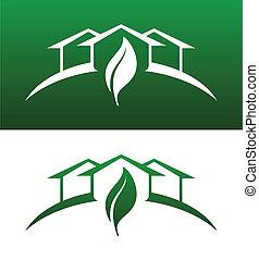 שניהם, איקונים של מושג, סולידי, דיר, הפוך, ירוק