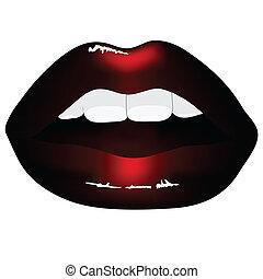 שפתיים, שחור, הפרד, רקע, אדום