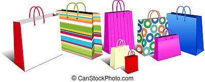 שקיות, מוביל, שקיות של קניות, איקונים