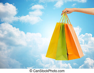 שקיות, קניות, , יד מחזיקה, קרוב