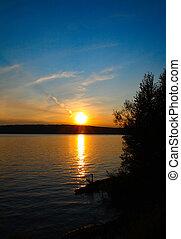 שקיעה, אגם, נוף