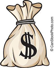 שקית, סימן של דולר, כסף