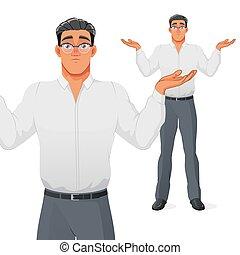 שראגגינג, איש עסקים, ציור היתולי, לשאול, וקטור, character., כתפיים.
