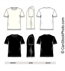 שרוול קצר, *t* חולצה, שחור, דפוסית, לבן