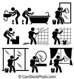 שרותים, חדר אמבטיה, איש, חלון מנקה