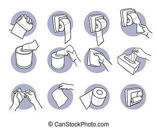 שרותים, להשתמש, העבר, tissue., להחזיק נייר