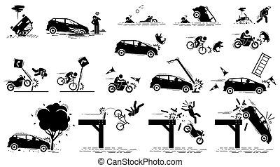 תאונה של מכונית, סיכון של דרך, תנועה, mishap.