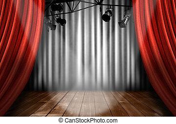 תאטרון, להראות, אורות, הצגה, הדגש, ביים