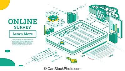 תאר, איזומטרי, concept., אונליין, הקרן, רשימה, קדור, ציונים, survey., pc.
