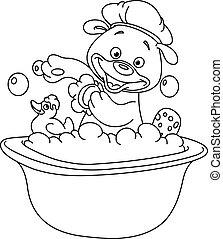 תאר, אמבט, לקחת, ילד, טדי