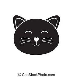 תאר, דירה, חתול, וקטור, צפה, שחור