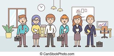 תאר, דירה, offive., אנשים, וקטור, קבע, דוגמה, קבץ, ליניארי, ציור היתולי, workers., התחבר, עסק, style., משרד