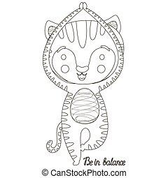 """תאר, הנח, ילדים, balance""""., אסאנה, שחור, קטן, לבן, גור, שמח, דוגמה, חמוד, לצבוע, עץ, יוגה, vrikshasana, חתול, book., vector., ציור היתולי, tiger, מהודר, בטא, """"be"""
