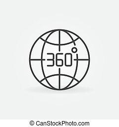 תאר, מעלות, 360, מושג, איקון, וקטור, הארק גלובוס