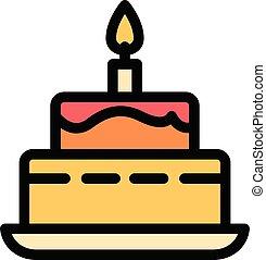 תאר, סיגנון, עוגה, נר, איקון, להשרף, יום הולדת