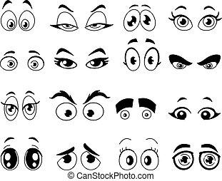 תאר, עיניים, ציור היתולי