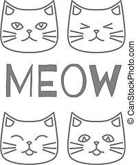 תאר, פנים, חתול, ארבעה, חמוד, איקונים
