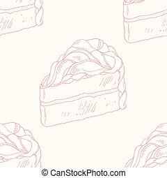 תאר, תבנית, seamless, העבר, עוגה, צייר