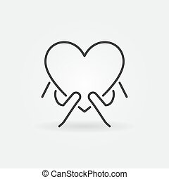תאר, icon., נדיבות לב, סמל, ליניארי, ידיים, לב