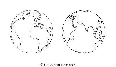 תאר, isolated., גלובוס, דוגמה, כוכב לכת, עולם, הארק, איקון