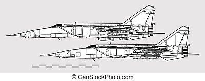 תאר, mig-25rb, mikoyan, מטוס, וקטור, profiles., foxbat., ציור