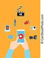 תא, מושג, העבר, blog, טלפן, וידאו, החזק, חכם