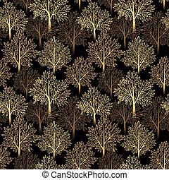 תבל, עץ, seamless, דוגמה, סתו, רקע., וקטור, נפול, pattern.