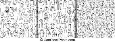 תבניות, בגדים, קבע, שרבט, seamless, וקטור, נשים