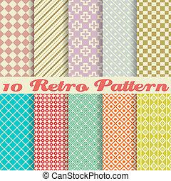 תבניות, (tiling), ראטרו, שונה, seamless, עשרה, וקטור
