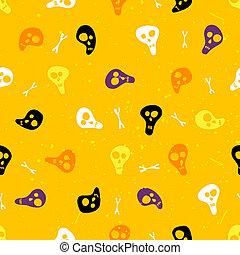 תבנית, גולגולות, הלוווין, seamless, bones.