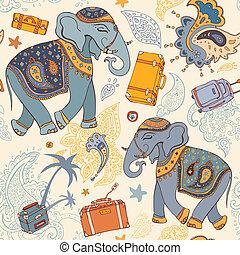 תבנית, טייל, וקטור, elephant., דוגמה