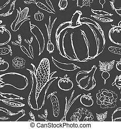 תבנית, ירקות, שרבט, פשוט, שחור, העבר, צייר, עלה, seamless