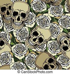 תבנית, לבן, גולגולות, seamless, ורדים