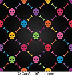 תבנית, מאלטיכולור, seamless, skulls.