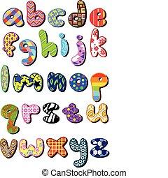 תבנית, מקרה, יותר נמוך, אלפבית