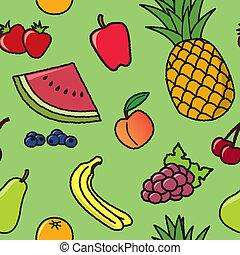 תבנית, פרי, seamless, ציור היתולי