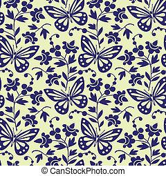 תבנית, פרפרים, וקטור, seamless