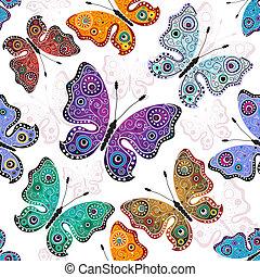 תבנית, פרפרים, לבן, seamless