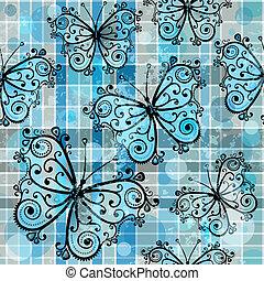 תבנית, פרפרים, משובץ, seamless
